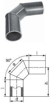 Отвод сварной односекционный 90 градусов